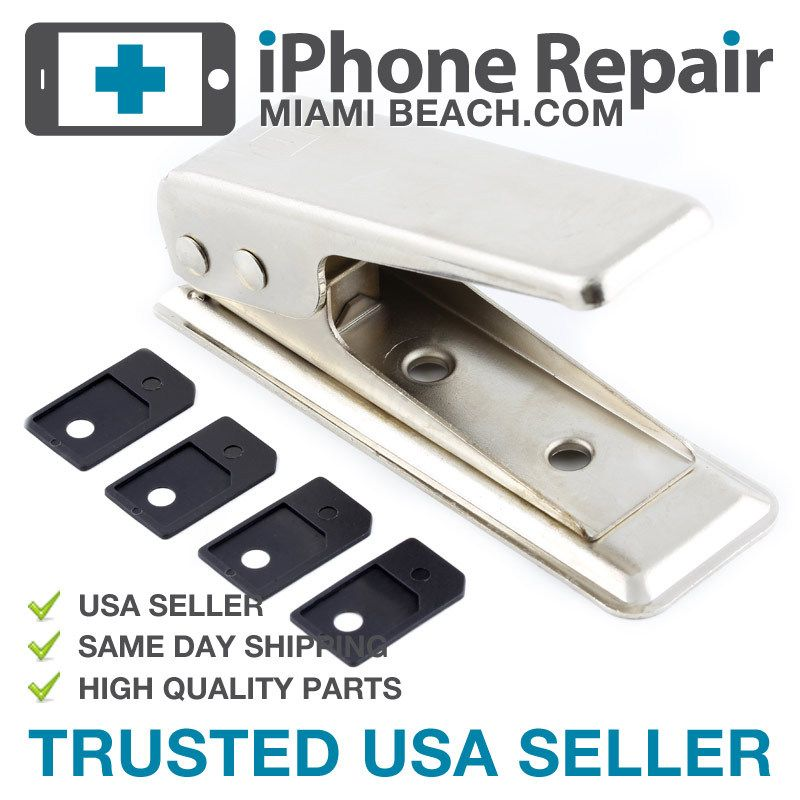 For iPhone 4 Micro Sim Card Cutter + 4 Sim Adapter US